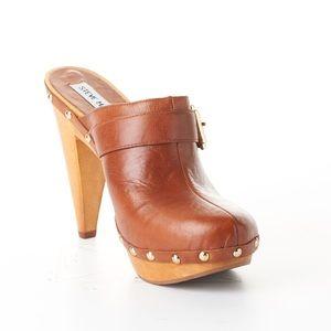 Steve Madden Estele Brown Leather Studded Clogs 7